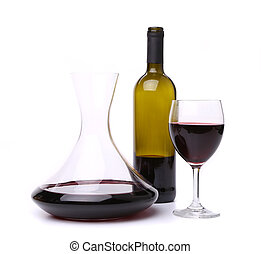 decanter, bottle and glass with red wine