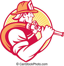 fireman fire fighter emergency worker - Illustration of a...