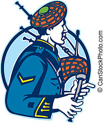 scotsman bagpiper playing bagpipes - Illustration of a...