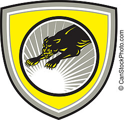 Black Panther Crest - Illustration of panther big cat...