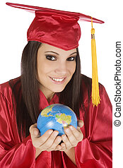 Graduation - Beautiful Caucasian student with he world in...