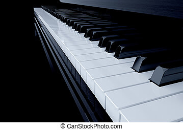 Piano - 3d render of piano side view with keys lost in the...