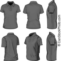 Men's black short sleeve polo-shirt - All views men's white...