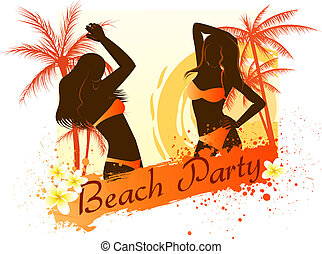 Beach party background with two dancing girls - Beach party...