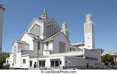 St Pierre cathedral at Place du Joulane square in Rabat,...