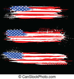 Grungy American Flag Banner - illustration of Grungy...