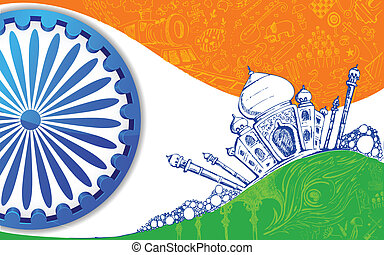 Indian Tricolor Background - illustration of Taj Mahal with...