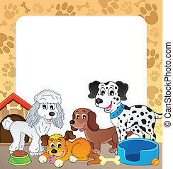 Frame with dog theme 1 - eps10 vector illustration