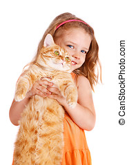 Little girl with a big red cat - Little  girl with a big red