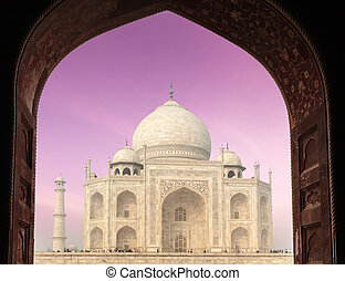 Taj Mahal through arch, Agra, India - Taj Mahal through...
