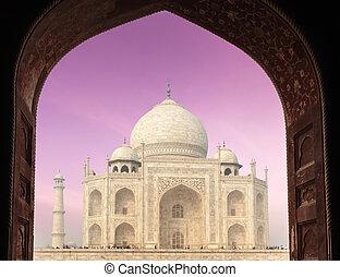 Taj Mahal through arch, Agra, India - Taj Mahal through...