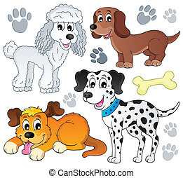 Image with dog topic 3 - eps10 vector illustration.