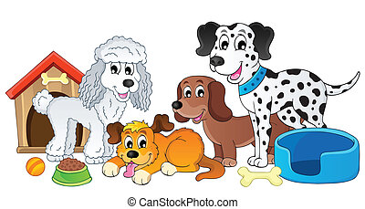 Image with dog topic 4 - eps10 vector illustration