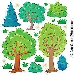 Tree theme collection 1 - eps10 vector illustration.