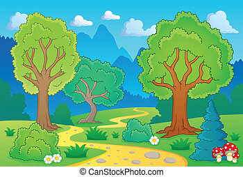 Tree theme landscape 1 - eps10 vector illustration