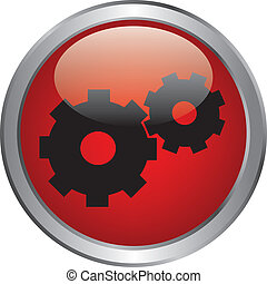 gears icon oh red button