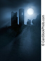 Ghosts of war - Moonlit gothic scenery with remote spooky...