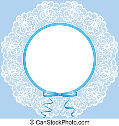 lace doily - Vintage card with lace doily and bow
