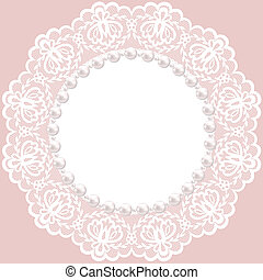lace doily - Vintage card with lace doily and pearls