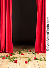 stage theater with roses