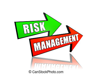 risk management in arrows - risk management - text in 3d...
