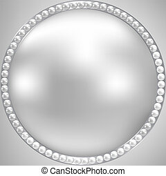 perl and silver frame - Background with perl and silver...