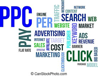 word cloud - ppc - A word cloud of pay per click related...