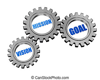 vision, mission, goal in silver grey gears - vision,...