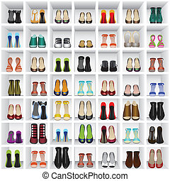 shoes on shelves of shop - Seamless background with shoes on...