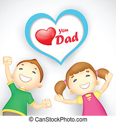 Love you Dad - illustration of kids wishing Love you Dad