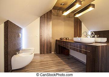 país, hogar, -, cuarto de baño, mostrador, cima