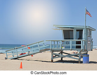Lifeguard tower at Santa Monica - A lifeguard supervises the...