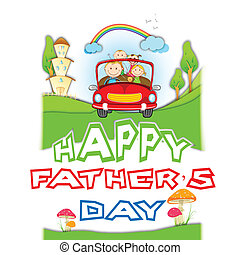Happy Father's Day - illustration of family traveling in car...