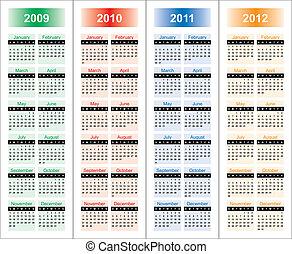 Calendar of 2009-2012 years. Days of week...
