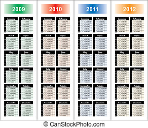 Calendar of 2009-2012 years. Days of week orientation:...