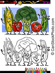 vegetables comic group for coloring book - Coloring Book or...