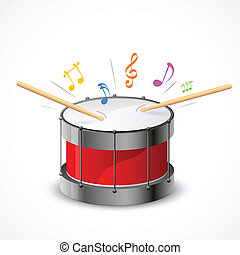 Musical Drum - illustration of music notes coming out of...