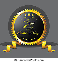 Fathers Day Badge - illustration of royal badge with golden...