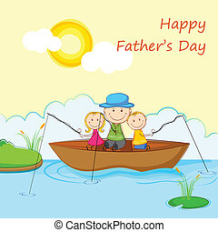 Kids with Father in Boat doing Fishing - illustration of...