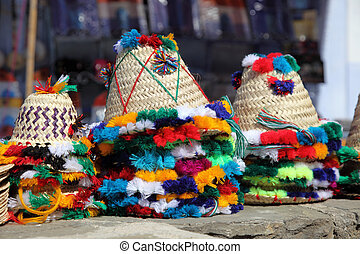 Traditional hats for sale in Chefchaouen, Morocco
