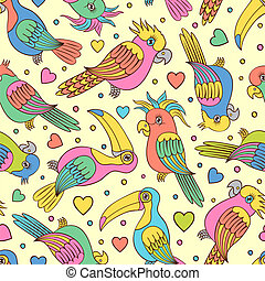 tropical birds - Vector illustration of seamless pattern...