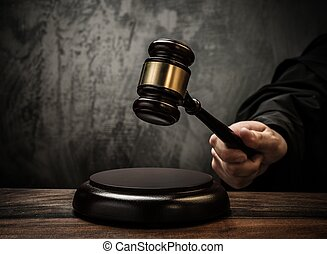 Judge's, hold, hammer, wooden, table