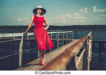 elegante, mujer, blanco, sombrero, rojo, Vestido,...