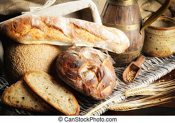 Freshly baked bread in countryside setting