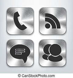 Communication brushed metal app icons