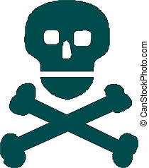 Skull with crossed bones over white background