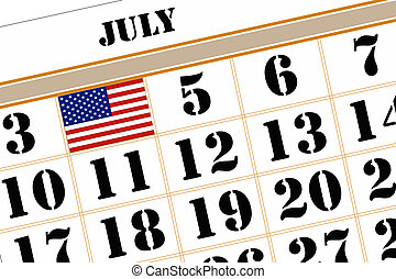 Calender Showing 4th July. - Calender Showing 4th July the...