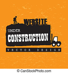 website under construction over orange background vector...