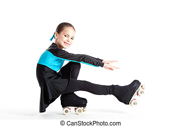 little girl with roller skates isolated on white background