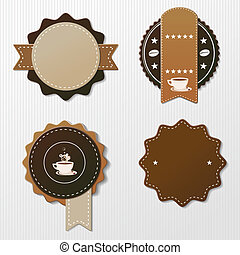 Four Coffee Labels With Text - Four coffee labels with text....